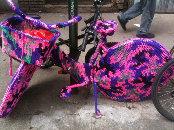 An amazing crochet bike cozy