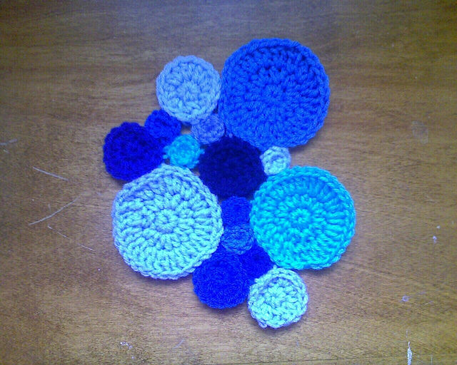 Fourteen crochet circles for pi day