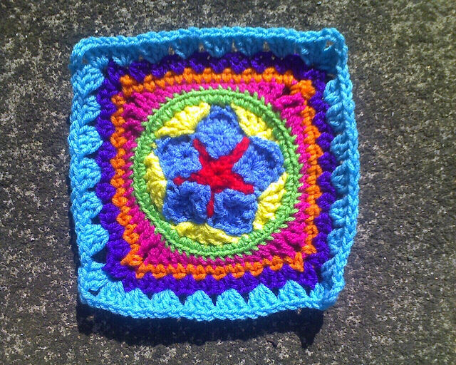 Crochets square B-4 with a crochet star in the center
