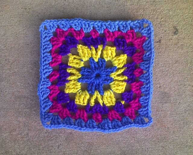 Multicolor crochet granny square crochet square