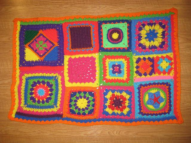 twelve crochet granny squares