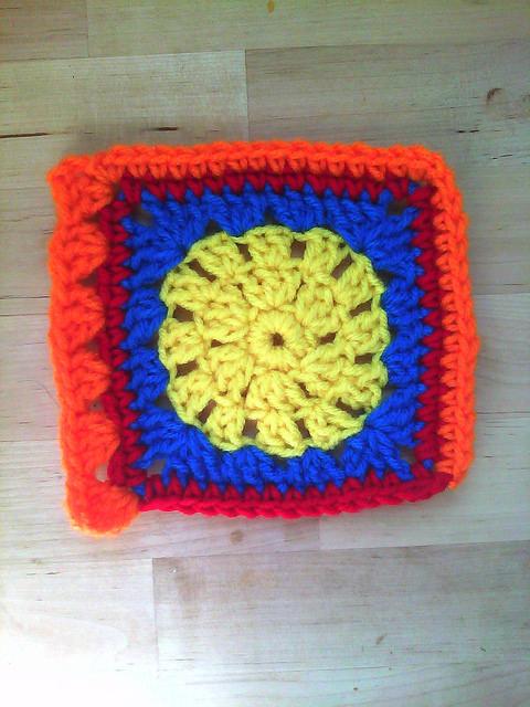 granny square with a crochet border