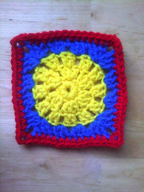 crochet granny square in Mondrian colors