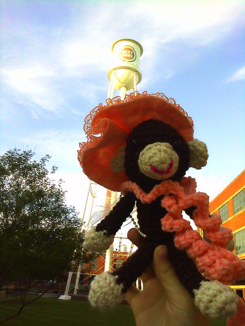A crochet monkey at the lucky strike tower