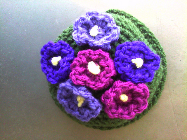 crochet African flower potted plant