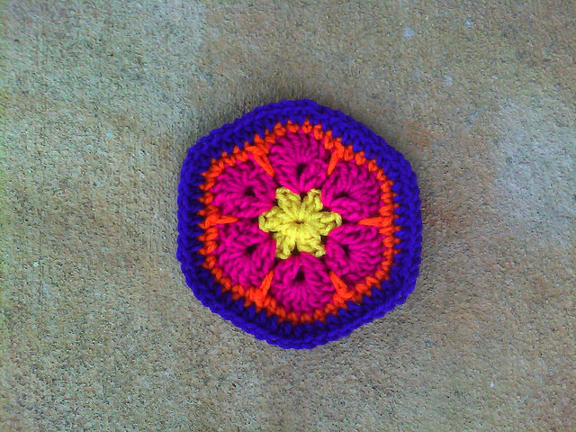 African flower crochet hexagon