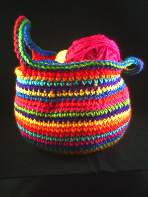 striped crochet basket
