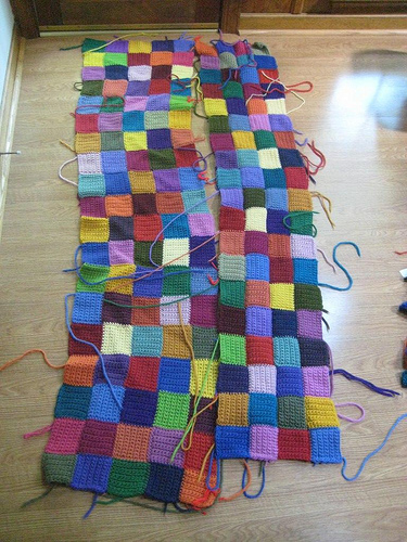 Crochet squares for a big rug