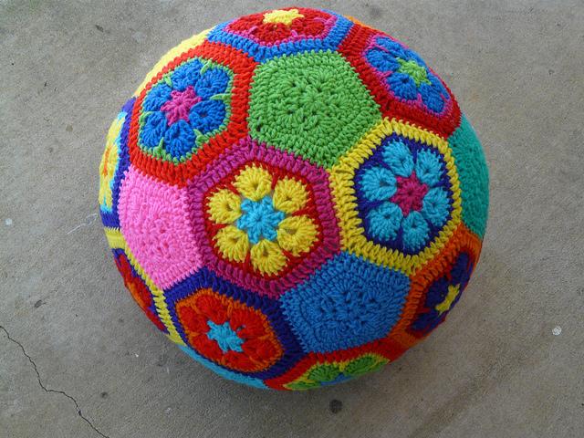 African flower crochet hexagon motif soccer ball