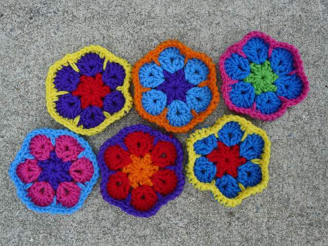 African flower crochet hexagons to be completed