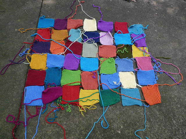 The return of the big rug which is currently comprised of forty-two textured crochet squares