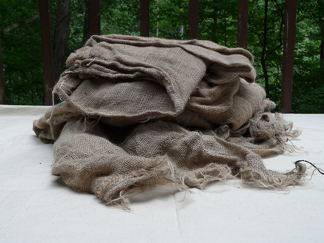 I ignore my inner worry wart and start gathering the supplies for felting, starting with burlap