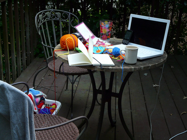 outdoor crochet office
