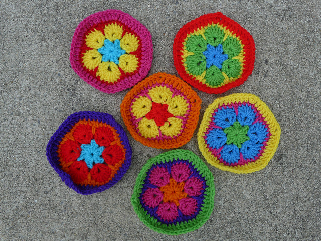 Crochet pentagon and crochet hexagons based on the African flower crochet hexagon motif