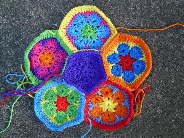 Crochet pentagon design that did not work for the crochet soccer ball