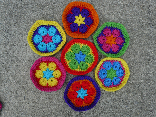 Seven African flower crochet hexagons