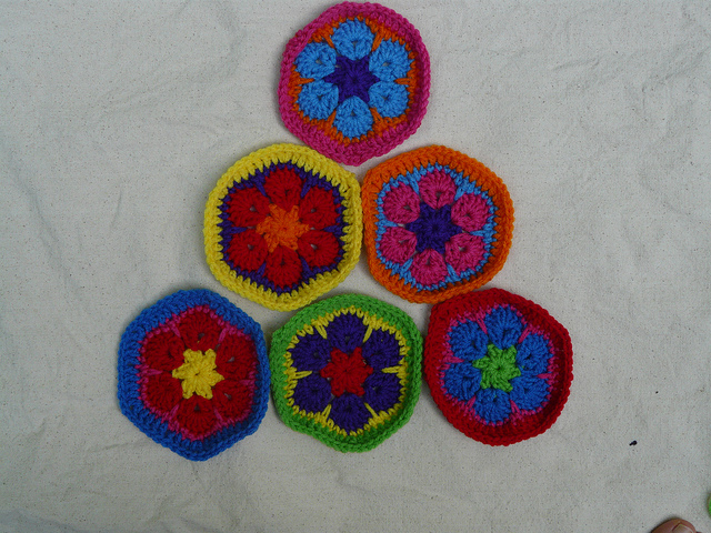 Six African flower crochet hexagons