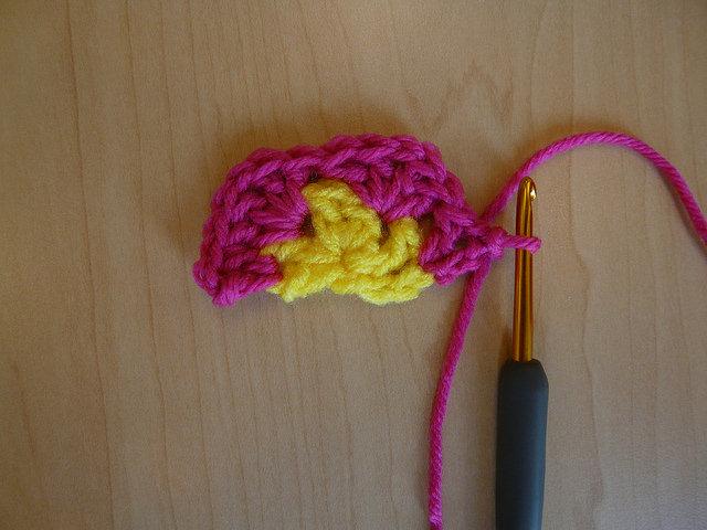 Start of Row 3 of the African flower crochet hexagon half