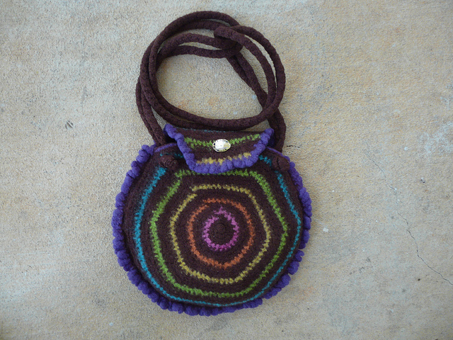 fetled crochet purse