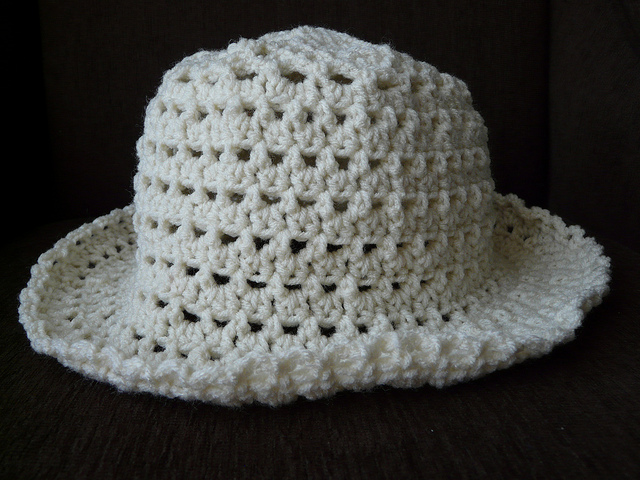 crochet hat side view