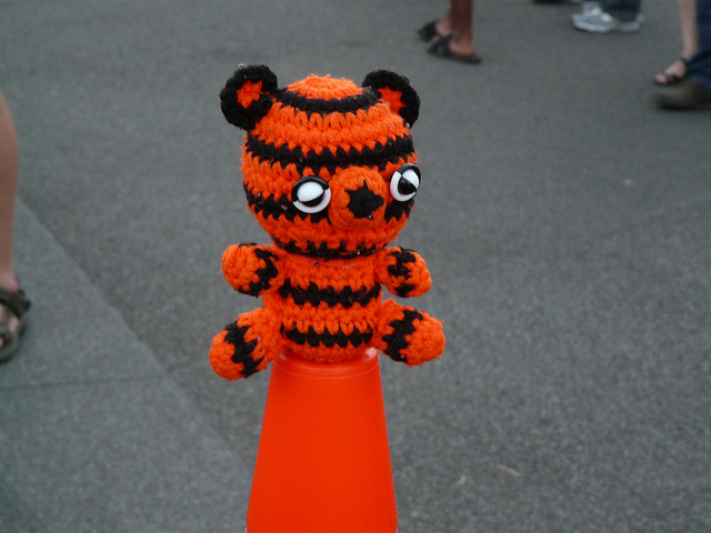 crochetbug, crochet tiger, amigurumi tiger, crochet toy, diy toy, washington dc, fourth of july, traffic cone