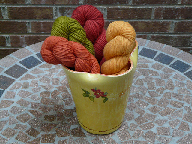 authentic French pottery with yarn
