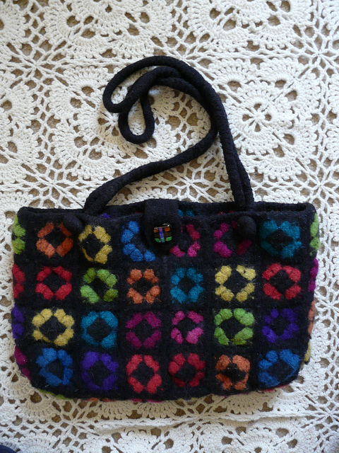 "My mother's ""too good to use"" felted granny square purse"
