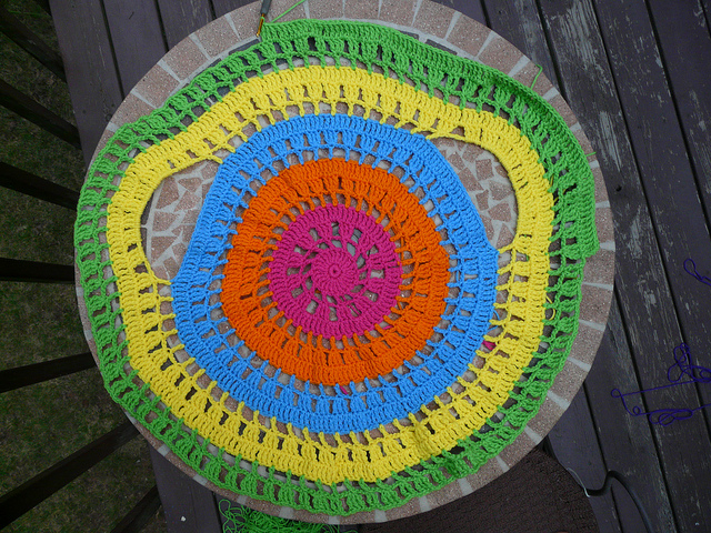 psychedelic crochet circle jacket