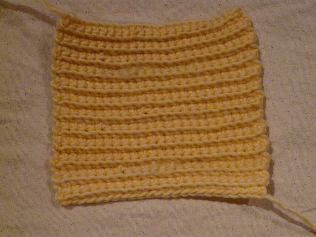 yellow textured crochet square