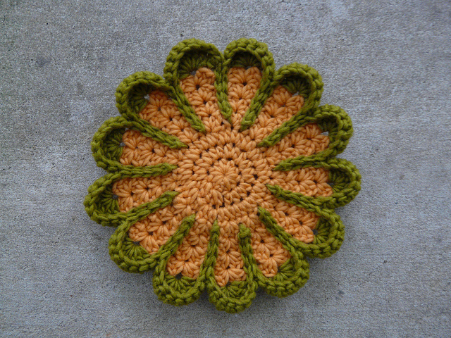 wool roving crochet pot holder