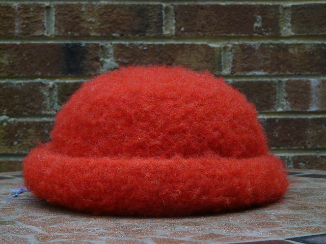 orange felted crochet hat