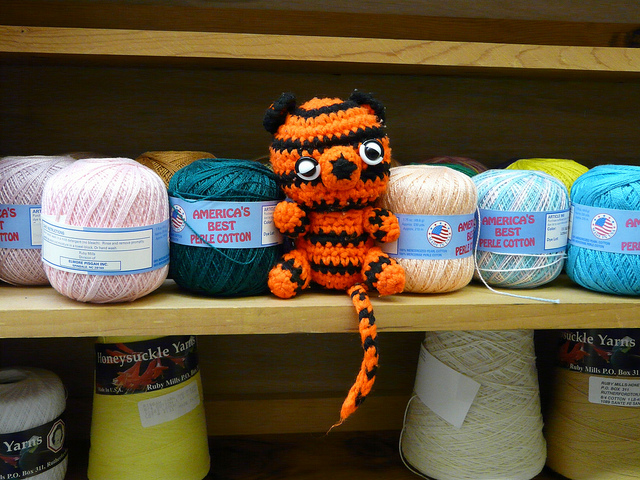 crochet tiger with perle cotton