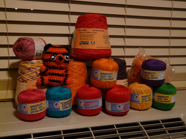 yarn stash of a crochet tiger