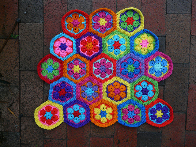 twenty-one crochet hexagons for a crochet bag