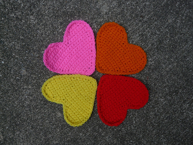 Four crochet hearts