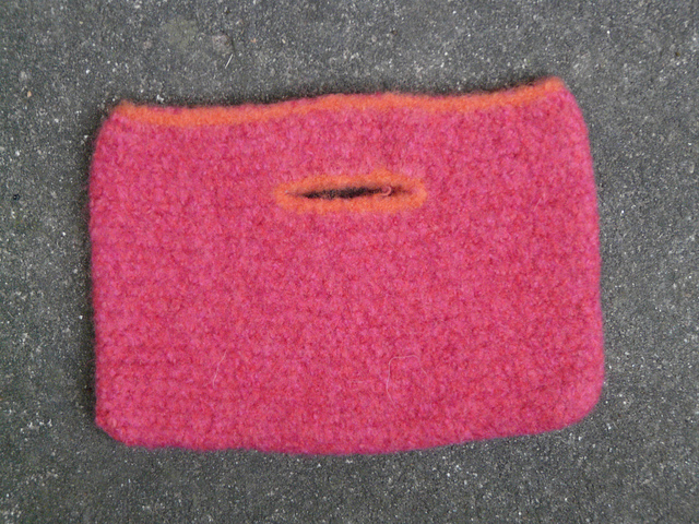 A small one skein felted crochet purse