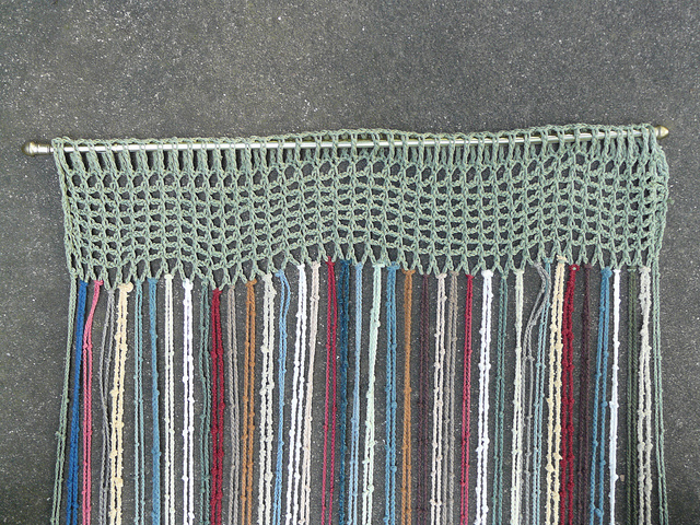 base of a crochet window covering