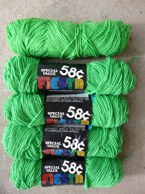 vintage yarn acrylic bright green