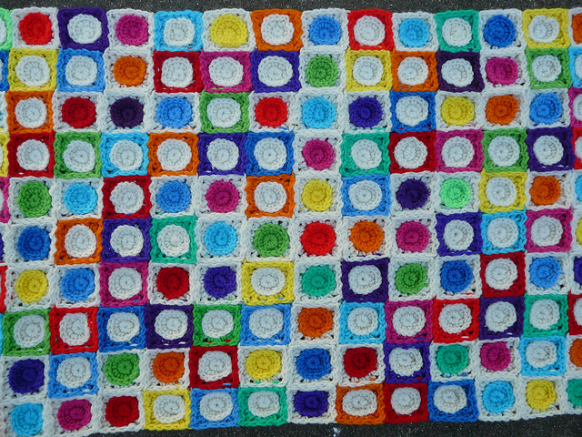 detail of crochet squares