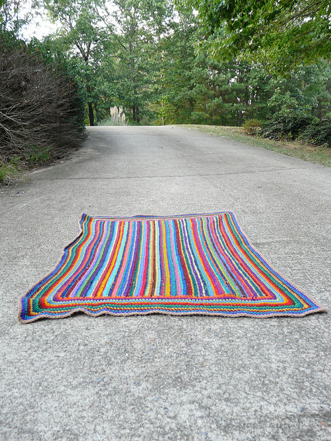 striped crochet afghan