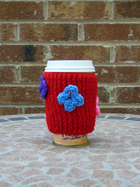 textured crochet coffee cozy, crochetbug, crochet post stitch crochet cozy, coffee, red
