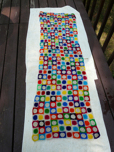 crochet blanket made of crochet squares