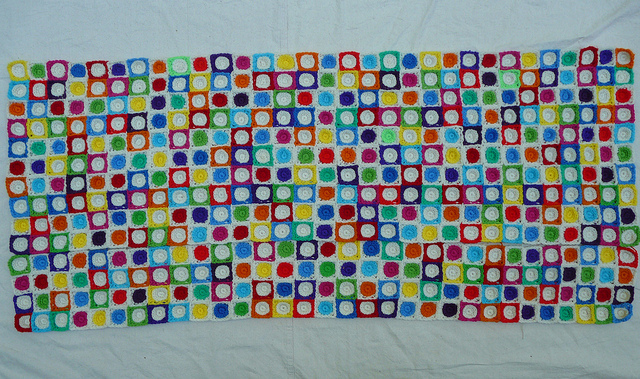 Hilbert Curve crochet blanket