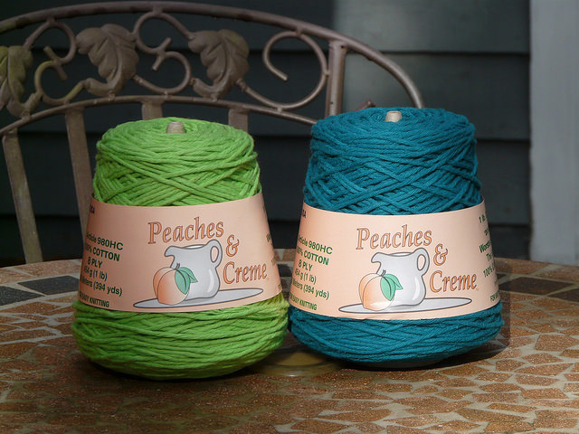 crochetbug, worsted weight yarn, cotton yarn, teal, green, verde, vert, yarn stash