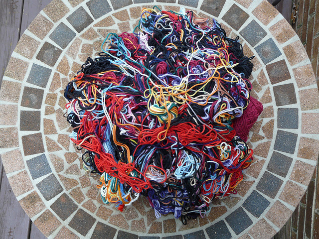 crochetbug, yarn scraps, mill ends, worsted weight yarn, yarn scraps