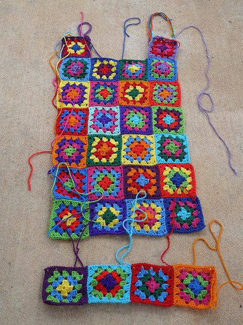 With a revision to the layout of squares my crochet dress begins to take shape