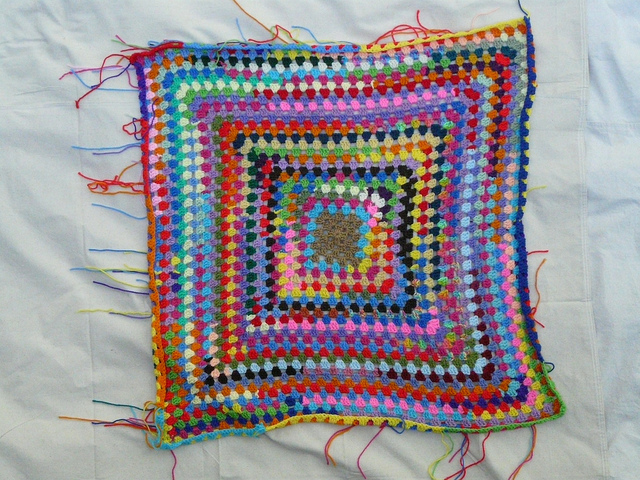 crochetbug, crochet square, granny square, scrap yarn crochet use what you have, granny square throw, crochet squares