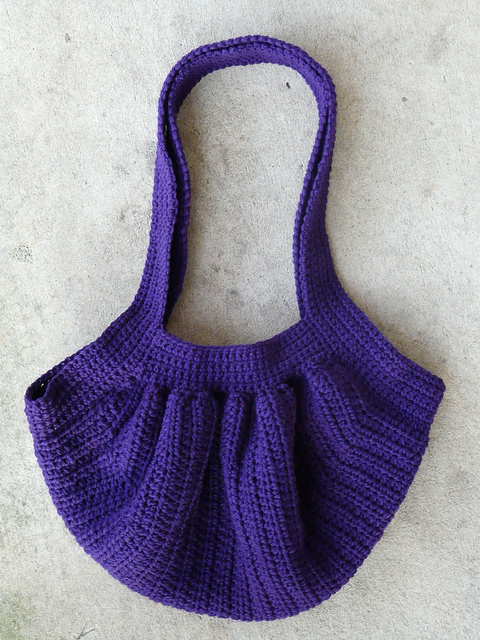 The finished crochet fat bag
