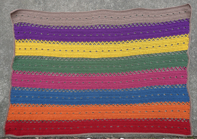 striped crochet blanket, crochetbug, crochet afghan, crochet throw