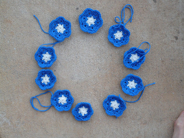 ten crochet hexagon flowers, crochetbug, crochet flowers, crochet hexagons, crochet soccer ball, crochet ball